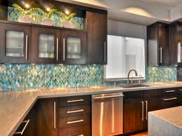 impressive kitchen decorating ideas. Kitchen. Kitchen Decorating Design Ideas Using Blue Gold Colored Glass Backsplash Including Solid Mahogany Impressive E