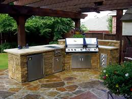 Outdoor Kitchen Countertop Modern Outdoor Kitchen Ideas Grey Teak Wood Storage Grey Tile