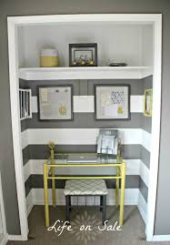 Fantastic Top Glass Laptop Office Desk With Yellow Iron Base Added Floating  Shelves In Small Grey Striped Wall Painted Color Closet Office Designs Ideas