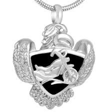 whole ijd8225 an unique 316l snless steel cremation jewelry hd biker eagle pendant keepsake memorial urn necklace biker pearl pendant necklace