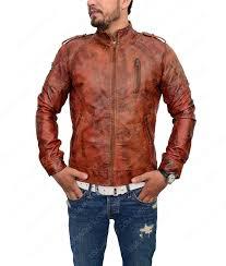 distressed brown slimfit café racer jacket