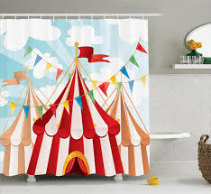 circus decor shower curtain set circus stripes sunshines through cloudy sky traditional performing bathroom accessories 69w x 70l inches by ambesonne