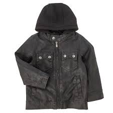 toddler boys black faux leather jacket with hood 2t 4t
