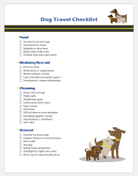 Pet Information Template Dog Travel Checklist Template For Ms Word Printable