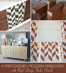 modern painted furniture. Midcentury Modern Furniture Makeover Via Dream Green DIY | Herringbone Pattern Stencil By Royal Design Painted