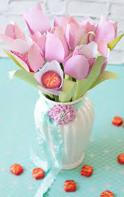 Paper Flower Bouquet In Vase Paper Flowers With Chocolate Centers Make