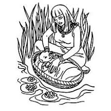 Baby Moses Coloring Page Stylish Of Basket On The Picture And Then