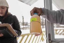 flint water crisis a visual essay a community responds michael anderson hands a routine water sample in 2016 to anne tavalire who is the state environmental quality agency neither was alarmed by its