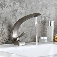 modern single hole 1 handle c shaped curved spout bathroom sink faucet with pop up drain in brushed nickel bathroom sink faucets bath faucets homary