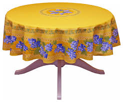 round gs yellow cotton coated provence tablecloth