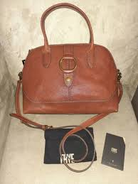 frye leather ring dome satchel cognac db693 with tags