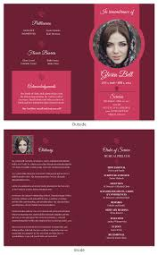 Design Your Own Funeral Program Dark Red Funeral Program Template
