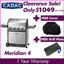 clearance cadac meridian 4 burner gas grill with side burner stainless