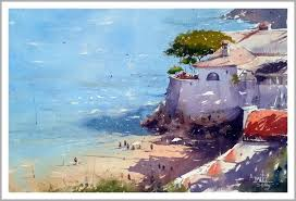 the beach painting by artist amit kapoor watercolor paper