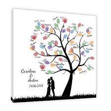 Fingerabdruck Baum Auf Leinwand Hochzeitsspiel
