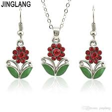 whole jinglang jewelry sets gift flowers pendant necklace drop earrings fashion weeding necklaces set for ensemble bijoux women custom jewelry gold