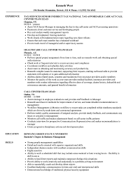 Team Leader Resume Examples Call Center Team Lead Resume Samples Velvet Jobs