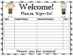 Parents Sign In Sheet Parent Teacher Conference Sign In Sheet Classroom Ideas Parent