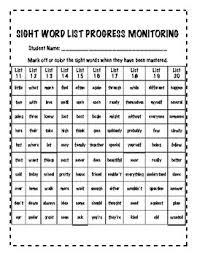 Tc Sight Word Progress Monitoring Chart