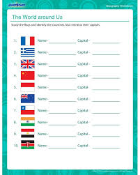 The World Around Us - 5th Geography Worksheet for Kids   Geography ...