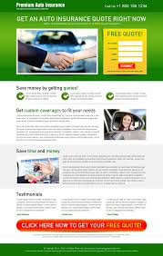 get free quote on your auto insurance attractive and appealing landing page design to boost