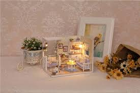 dusting wood furniture. doll house furniture diy 3d wooden miniaturas dollhouse toys for children birthday kit crafts gifts kitten diary dust cover h013 dusting wood n