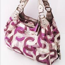 Coach Madison Purple Chainlink Sateen Shoulder Bag