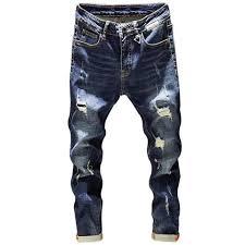 <b>Mens</b> Ripped Jeans Slim Fit Dark Blue <b>Spring Autumn</b> Destroyed ...