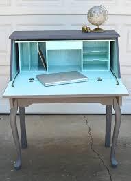 secretary desk slate and aqua painted curved leg table hutch furniture