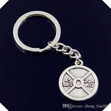 new fashion men 30mm keychain diy metal holder chain vintage barbell disc weight 45lbs 20 4kg key rings keychain photo keyrings from fine007