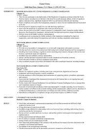 Manager Regulatory Compliance Resume Samples Toms Resume