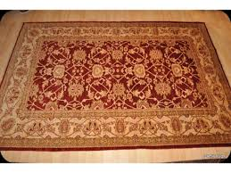 elegant handmade persian rug 6 x 9 cherry red background gold
