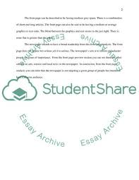 Analysis Of Front Page Of News Paper Admission Application Essay