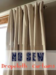 no sew dropcloth curtains with a faux pinch pleat
