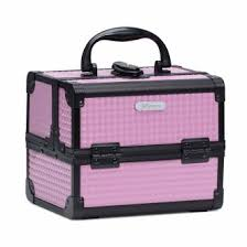 joligrace s makeup box with mirror cosmetic case jewelry organiser light weight lockable with keys pink on on