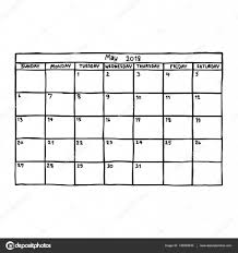 Calendar May 2018 Vector Illustration Sketch Hand Drawn With Black
