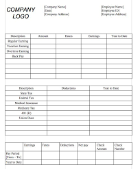 Paycheck Template Microsoft Word Download Blank Pay Stub Templates