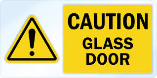 caution glass door decal signs sku lb