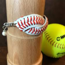 softball baseball bracelet sports bracelet mother daughter team spirit adjustable leather gallery photo