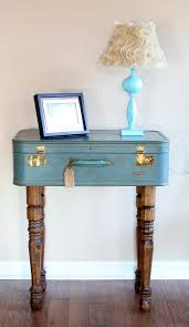 Vintage Look Suitcase Nightstand Table Painted With Blue Chalk Paint Color  And High Wooden Legs Ideas
