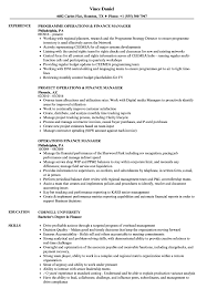 Finance Manager Resume Sample Operations Finance Manager Resume Samples Velvet Jobs 16