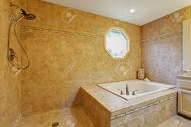 Open Shower Luxury Bathroom Interior White Bath Tub With Tile Trim And Open