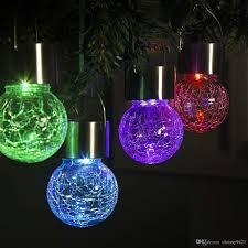 Hanging Ball Lights 2019 Hanging Solar Lights Multi Color Changing Cracked Glass Hanging Ball Lights Waterproof Outdoor Solar Lanterns For Garden Yard Patio Lawn From