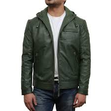 men s olive green leather er jacket majento loading zoom