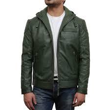 men s olive green leather er jacket majento loading zoom