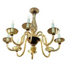 hollywood regency murano glass chandelier with eight arms in light amber side