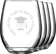 hipster graduate wine glasses stemless set of 4 personalized