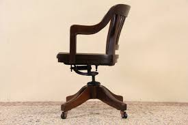 antique oak swivel office chair vintage wooden desk gallery chairs new orleans sold milwaukee pat leather