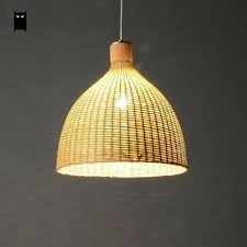 woven lamp shade hand woven bamboo rattan round basket lampshade pendant light fixture rustic country style