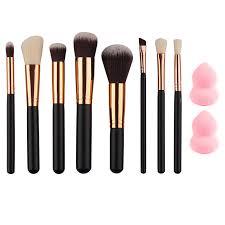 milee new 8pcs rose gold makeup brushes beveled eyeshadow eyebrow powder brush 2pcs sponge puff